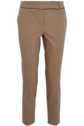 BRUNELLO CUCINELLI Cropped bead-embellished stretch-cotton straight-leg pants