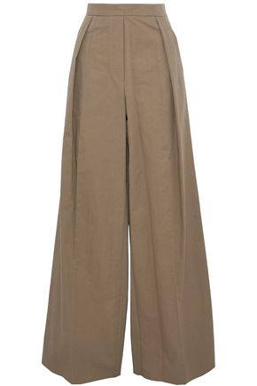 BRUNELLO CUCINELLI Pleated cotton-blend twill straight-leg pants