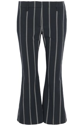 BRUNELLO CUCINELLI Cropped striped stretch-cotton flared pants