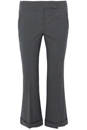 BRUNELLO CUCINELLI Cropped bead-embellished wool-blend kick-flare pants