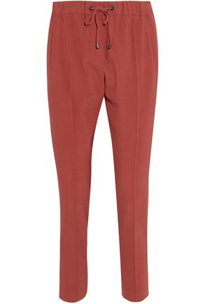 BRUNELLO CUCINELLI Bead-embellished wool-blend tapered pants