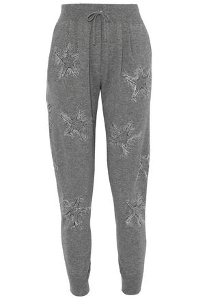 WOMAN BEAD-EMBELLISHED FRINGED CASHMERE TRACK PANTS GRAY
