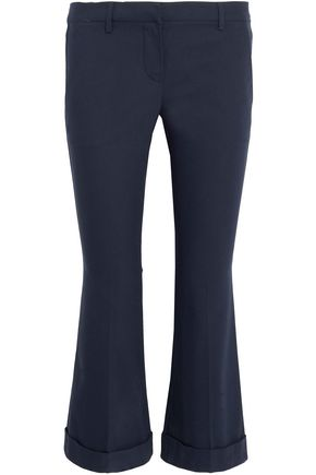 BRUNELLO CUCINELLI Cropped stretch-cotton twill flared pants