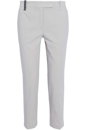 BRUNELLO CUCINELLI Crystal-embellished cotton-twill tapered pants