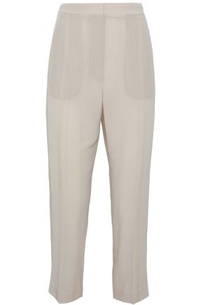 BRUNELLO CUCINELLI Cropped sequin-embellished silk-crepe straight-leg pants