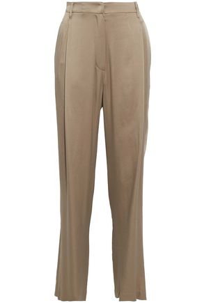 BRUNELLO CUCINELLI Satin-crepe wide-leg pants