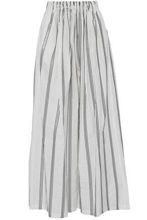 BRUNELLO CUCINELLI Sequin-embellished cotton-blend poplin wide-leg pants