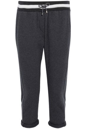 BRUNELLO CUCINELLI Cropped cashmere and cotton-blend track pants