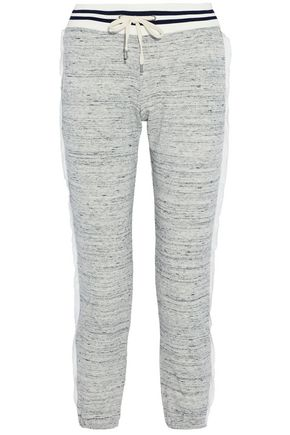 SPLENDID Mélange cotton-blend terry gauze-trimmed track pants