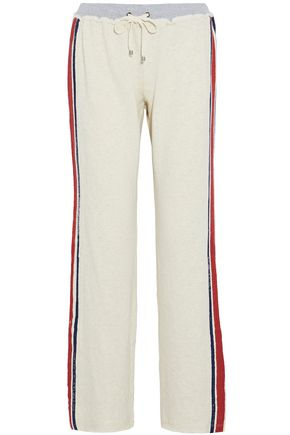 SPLENDID Frayed printed cotton-terry track pants