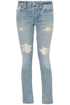 RE/DONE by LEVI'S Distressed low-rise skinny jeans
