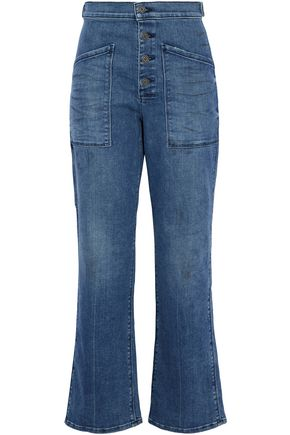 RTA Distressed high-rise bootcut jeans