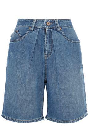 BRUNELLO CUCINELLI Pleated distressed denim shorts
