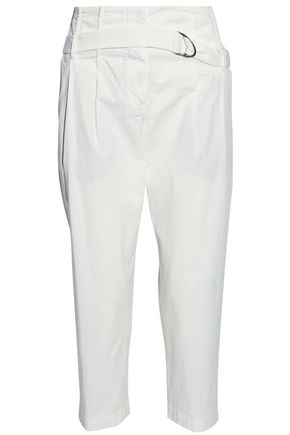 BRUNELLO CUCINELLI Belted cropped stretch-cotton straight-leg pants