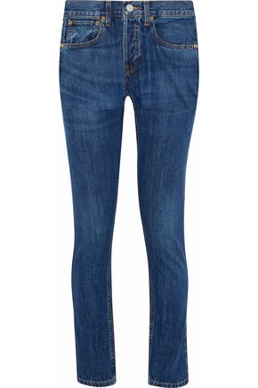 RE/DONE by LEVI'S Faded mid-rise slim-leg jeans