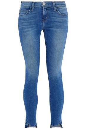 CURRENT/ELLIOTT Distressed low-rise skinny jeans