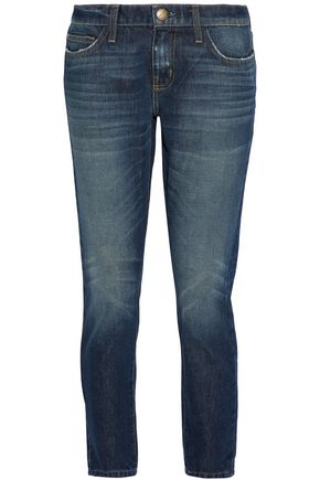 CURRENT/ELLIOTT Faded mid-rise slim-leg jeans