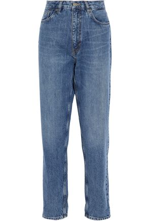 M.I.H JEANS Faded high-rise straight-leg jeans