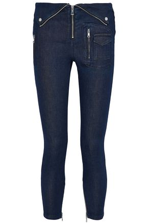 RTA Cropped zip-detailed mid-rise skinny jeans