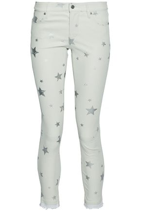RTA Metallic printed leather skinny pants