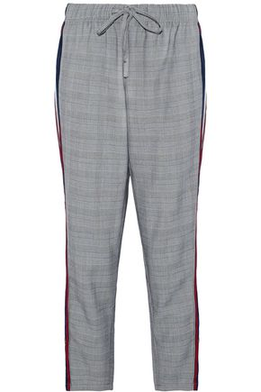 W118 by WALTER BAKER Striped voile-paneled Prince of Wales woven tapered pants