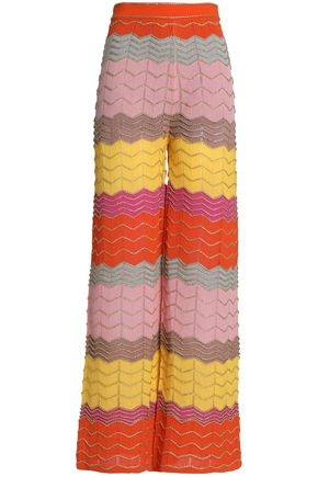 M MISSONI Lamé pointelle-knit wide-leg pants