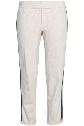BRUNELLO CUCINELLI Bead-embellished stretch-cotton straight-leg pants