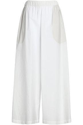 BRUNELLO CUCINELLI Gathered cotton-blend poplin wide-leg pants