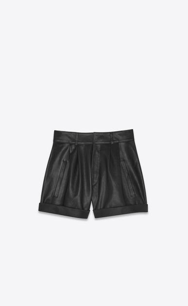 SAINT LAURENT Short Trousers Woman High-waisted shorts in black leather a_V4