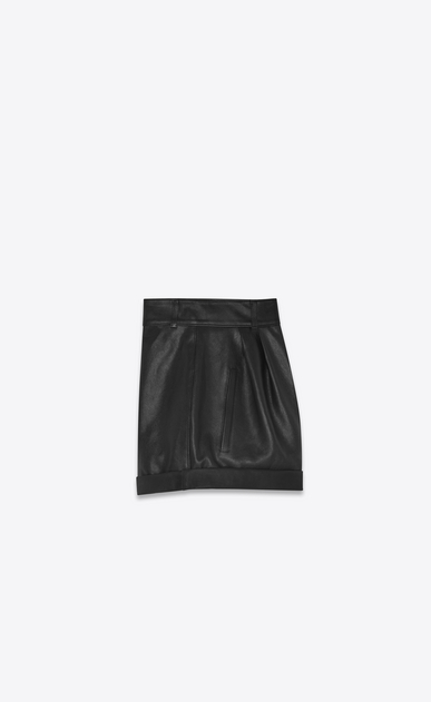 SAINT LAURENT Short Trousers Woman High-waisted shorts in black leather b_V4