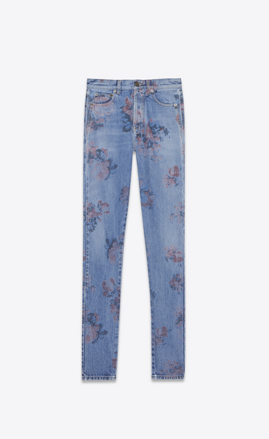 SAINT LAURENT Slim fit Damen Slim Fit Jeans aus ausgeblichenem, blauem Denimstoff mit Blumenprint a_V4