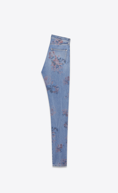 SAINT LAURENT Slim fit Damen Slim Fit Jeans aus ausgeblichenem, blauem Denimstoff mit Blumenprint b_V4