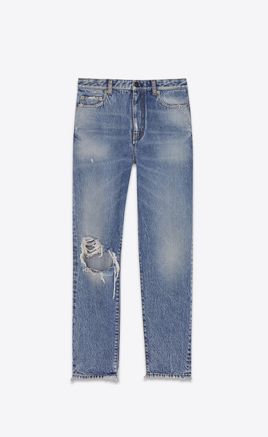 SAINT LAURENT Baggy Woman Worn baggy jeans in faded blue denim a_V4