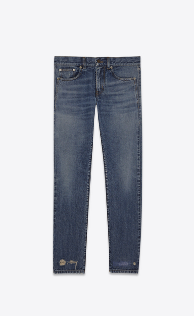 SAINT LAURENT Baggy Woman Low-waisted boyfriend jeans in faded blue denim a_V4