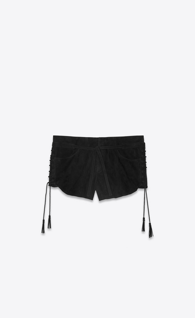 SAINT LAURENT Short Pants Woman Laced mini shorts in black suede a_V4