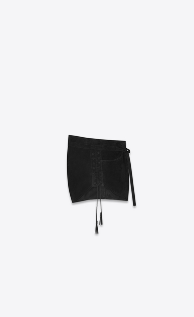 SAINT LAURENT Short Pants Woman Laced mini shorts in black suede b_V4