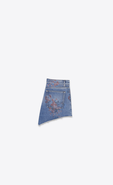 SAINT LAURENT Short Pants Woman Baggy shorts in faded blue denim with a floral print b_V4
