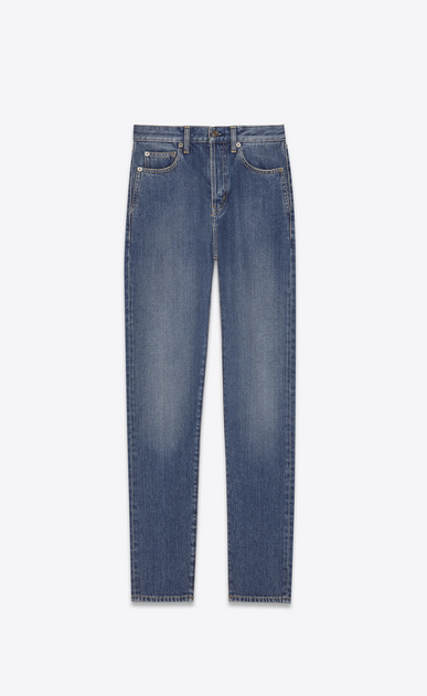 SAINT LAURENT Slim fit Woman HEART slim jeans in faded blue denim canvas a_V4