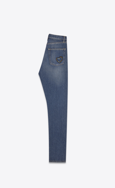 SAINT LAURENT Slim fit Woman HEART slim jeans in faded blue denim canvas b_V4