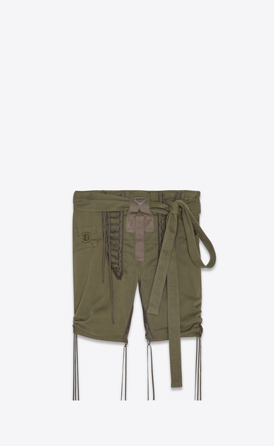 SAINT LAURENT Leather pants Woman Laced military shorts in khaki cotton gabardine a_V4