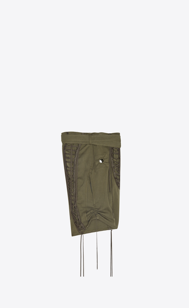 SAINT LAURENT Leather pants Woman Laced military shorts in khaki cotton gabardine b_V4