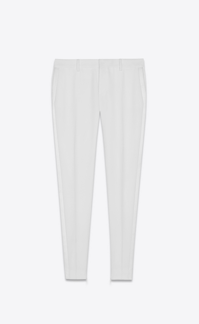 SAINT LAURENT Classic Pant Woman Tuxedo pants in white grain de poudre a_V4