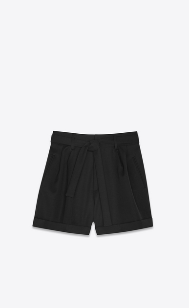 SAINT LAURENT Short Trousers Woman High-waisted shorts in black grain de poudre a_V4