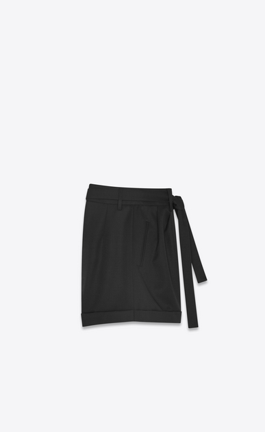 SAINT LAURENT Short Pants Woman High-waisted shorts in black grain de poudre b_V4
