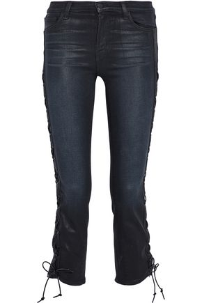 J BRAND Lace-up coated mid-rise slim-leg jeans