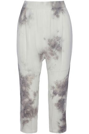 ENZA COSTA Cropped tie-dyed crepe tapered pants