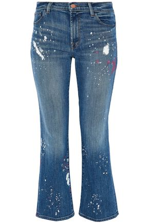 J BRAND Cropped printed mid-rise bootcut jeans