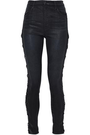 J BRAND Lace-up coated high-rise skinny jeans