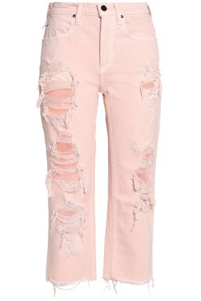 ALEXANDER WANG Cropped distressed boyfriend jeans
