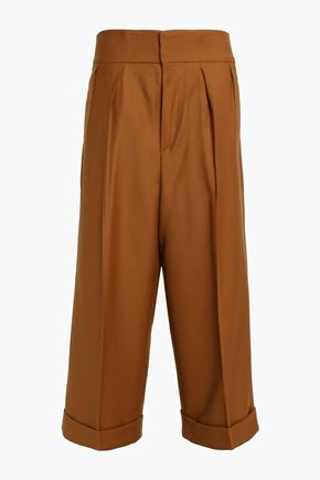 MARNI Cropped wool-twill wide-leg pants